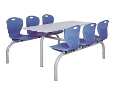 Blue 6 Seater Double Entry Premium Canteen Seating