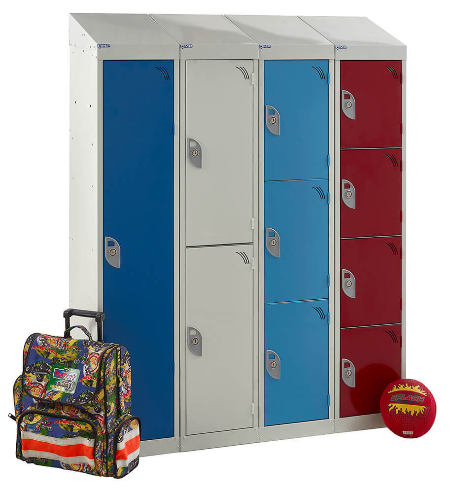 1, 2, 3 & 4 Compartment School Locker 1365mm x 300mm x 450mm (H x W x D) (with additional sloping top accessory)